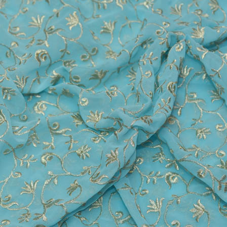 Sky Blue Poly Georgette Base Fabric With Golden Leaf Embroidery-60045
