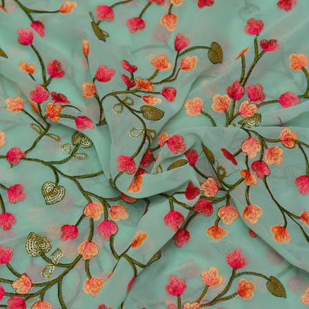 Sky Blue Poly Georgette Base Fabric With Pink Floral Embroidery-60034