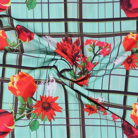 Sky Blue Red and Green Flower Crepe Silk Fabric-18263