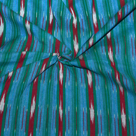 Sky Blue-Red and Green Lining Shape Ikat Fabric-5684