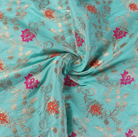 Sky Blue Red and Yellow Floral Banarasi Silk Fabric-9498