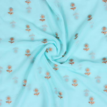 Sky Blue Sliver Flower Fox Georgette Embroidery Fabric-15287