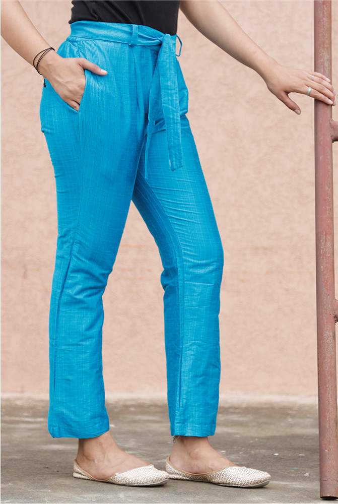 Sky Blue South Cotton Plain Narrow Pant with Belt-33919