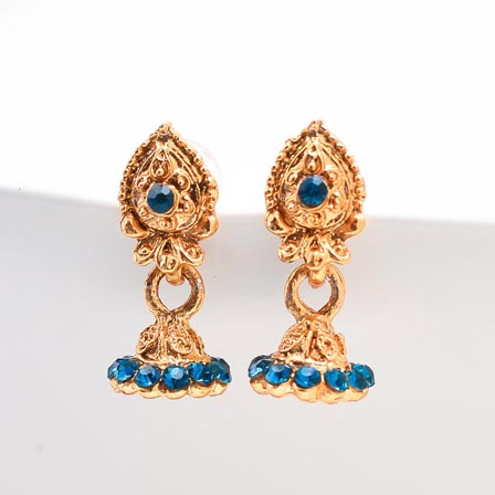 Sky Blue Stone with Golden Polish Jhumki for women