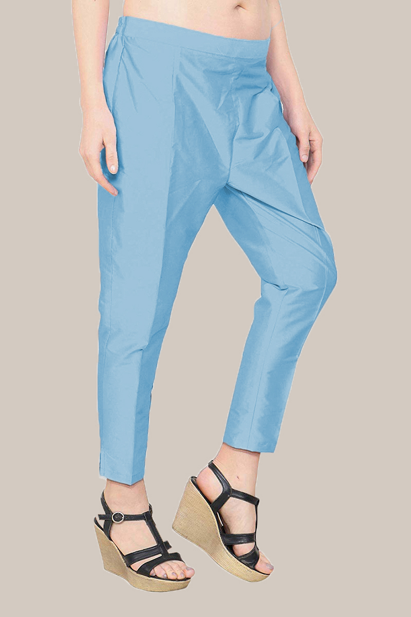 Sky Blue Taffeta Silk Ankle Length Pant-33974