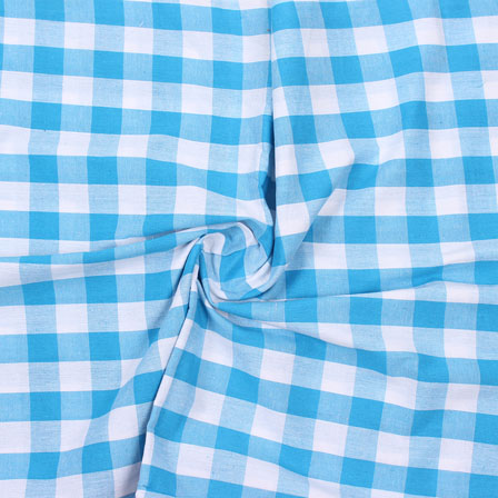 Sky Blue White Check Handloom Cotton Fabric-40744