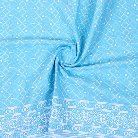 Sky Blue White Flower Lucknowi Chikan Fabric-95026