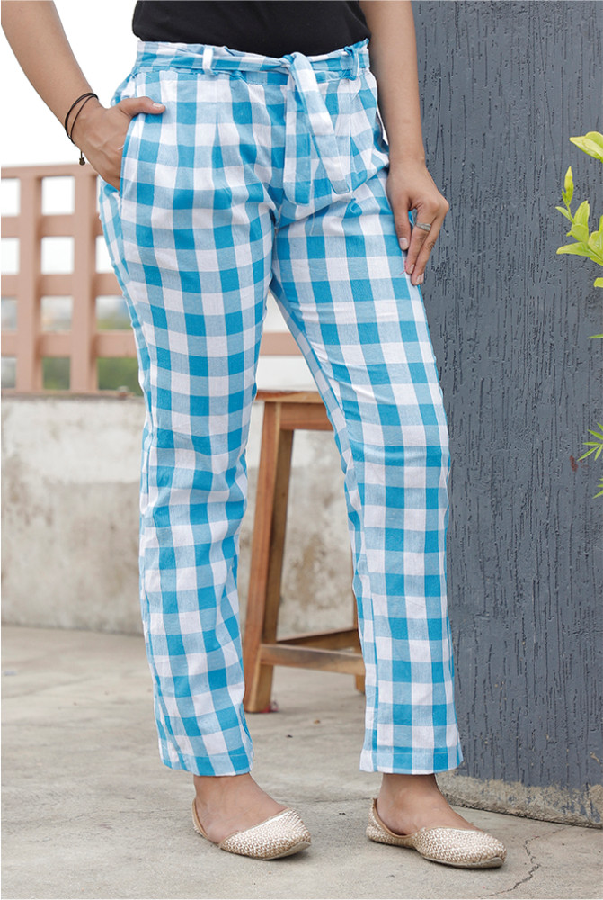 Sky Blue White Handloom Cotton Checks Narrow Pant with Belt-33901