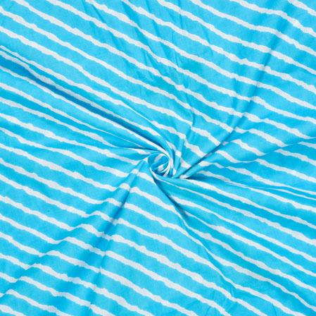 Sky-Blue White Leheriya Cotton Fabric-28075