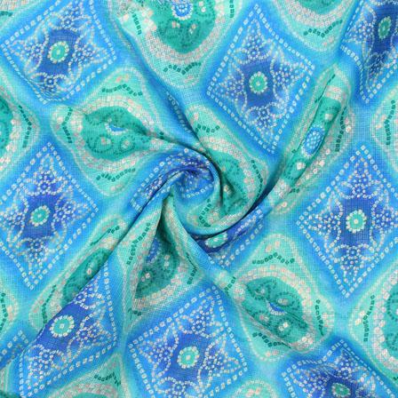 Sky Blue White Leheriya Kota Doria Fabric-25149