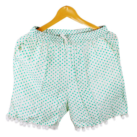 Sky Blue White Polka Cotton Block Print Short-14660