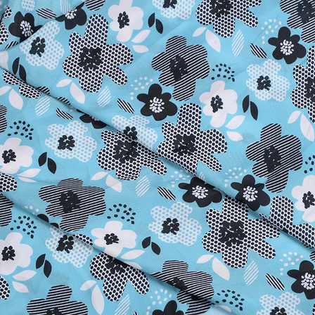 Sky Blue-White and Black Flower Silk Crepe Fabric-18122