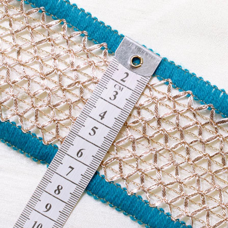 9 MTR Roll of Sky Blue-White and Gold Square Shape Embroidery Jacquard Lace-4050