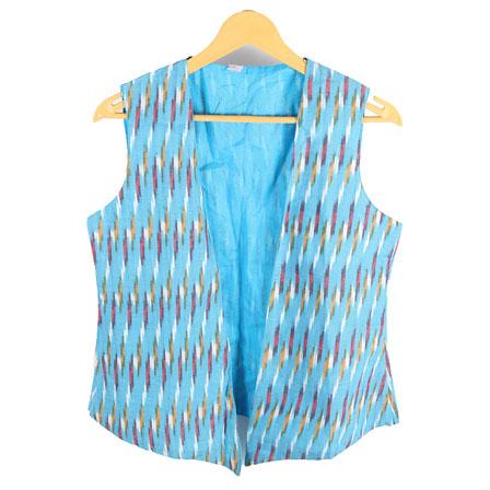 Sky Blue-White and Green Cut Sleeve Ikat Cotton Koti Jacket-12228