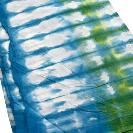 Sky Blue White and Green Tie Dye Cotton Fabric by the Yard