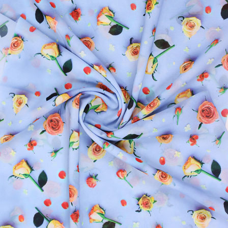 Sky Blue Yellow Flower Georgette Silk Fabric-15248
