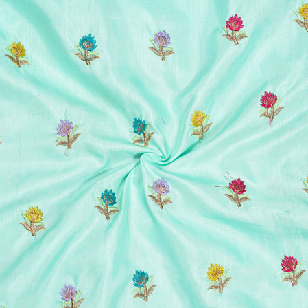 Sky Blue Yellow and Pink Embroidery Silk Paper Fabric-18566
