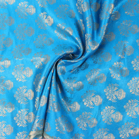 Sky Blue and Golden Brocade Silk Fabric-8883
