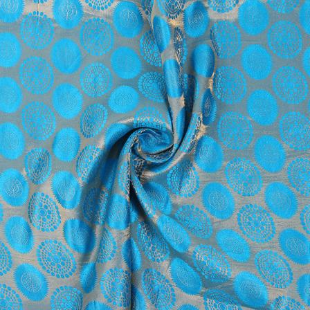 Sky Blue and Golden Circular Brocade Silk Fabric-8842