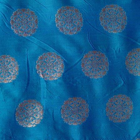 Sky Blue and Golden Circular Pattern Brocade Fabric-4271