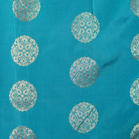 Sky Blue and Golden Circular Pattern Brocade Indian Fabric-4277