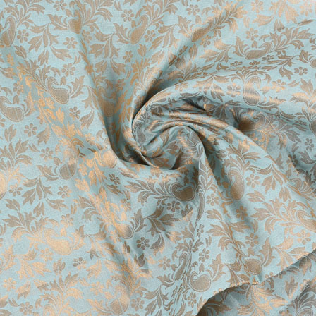 Sky-Blue and Golden Floral Brocade Silk Fabric-8934