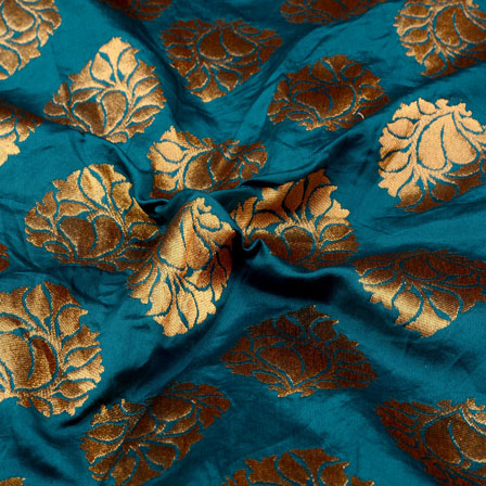 Sky Blue and Golden Floral Design Brocade Silk Fabric-5347