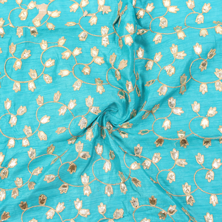 Sky Blue and Golden Floral Pattern Silk Embroidery Fabric-60155