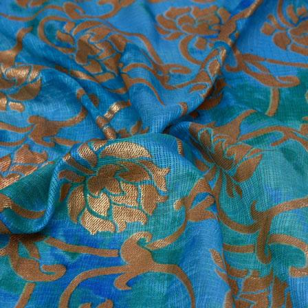 Sky Blue and Golden Flower Pattern Kota Doria Fabric-6014