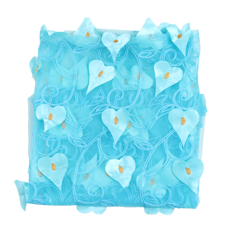 Sky Blue and Golden Leaf Net Embroidery Fabric-60880