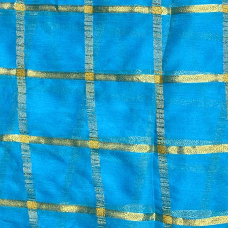 Sky Blue and Golden Lining Pattern Chiffon Fabric-4369