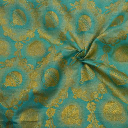 Sky Blue and Golden Pot Pattern  Brocade Silk Fabric-8123