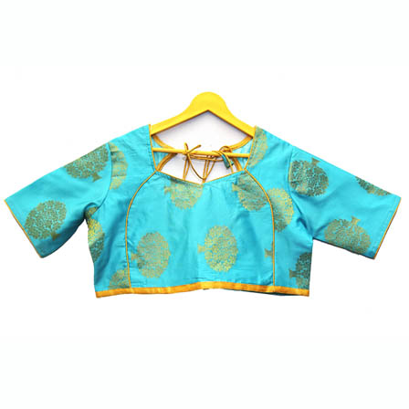 Sky Blue and Golden Tree Silk Brocade Blouse-30106