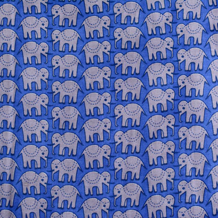 1 MTR-Sky Blue and Gray Elephant Block Print Cotton Fabric-4203