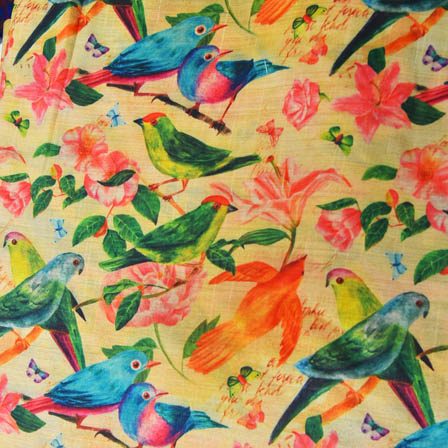 Sky Blue and Green Bird Digital Print On Beige Silk Fabric-24030