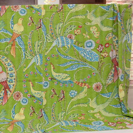 Sky Blue and Green Handmade Birds Pattern Kantha Quilt-4329
