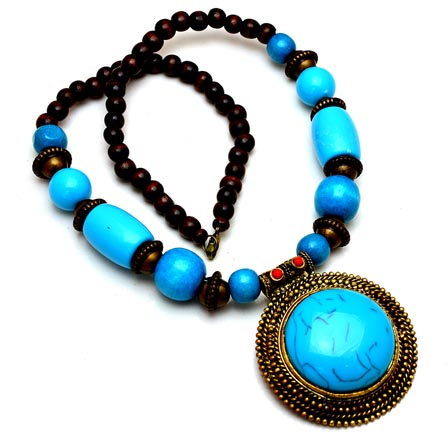 Sky Blue and Maroon pearls Drop Neckless with Circular Pattern Pandent for Women