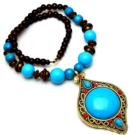 Sky Blue and Maroon pearls Drop Neckless with leaf Pattern Pandent for Women