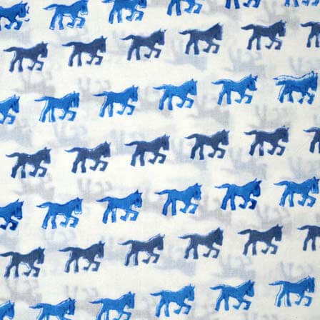 Sky Blue and Navy Blue Running Horse Block Print Cotton Fabric