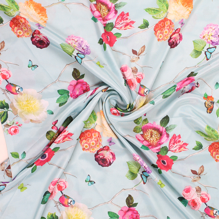 Sky Blue and Red Flower Silk Crepe Fabric-18153