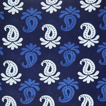1 MTR-Sky Blue and White Paisley Pattern Block Print Cotton Fabric