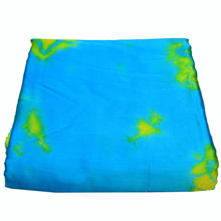 Sky Blue and Yellow Batik Satin Fabric-32009