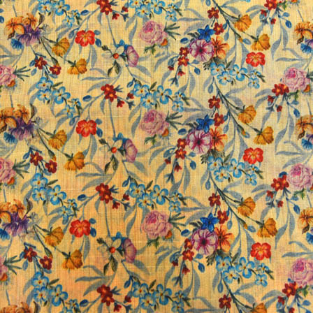 Sky Blue and Yellow Floral Digital Print On Beige Silk FabrIc-24006