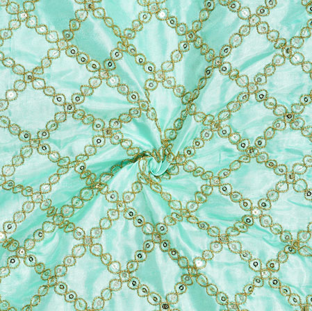 Sky blue Golden Embroidery Silk Paper Fabric-18617