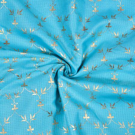 SkyBlue Golden Flower Foil Work Kota Doria Fabric-42581