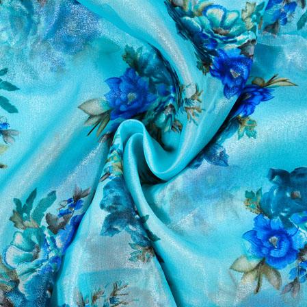 SkyBlue Green Floral Organza Digital Silk Fabric-22340