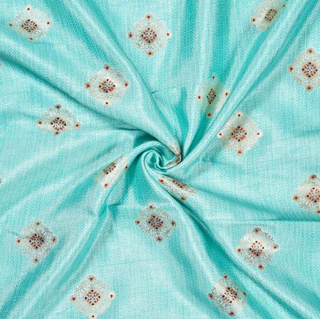 SkyBlue Maroon Flower Cotton Print Fabric-28212