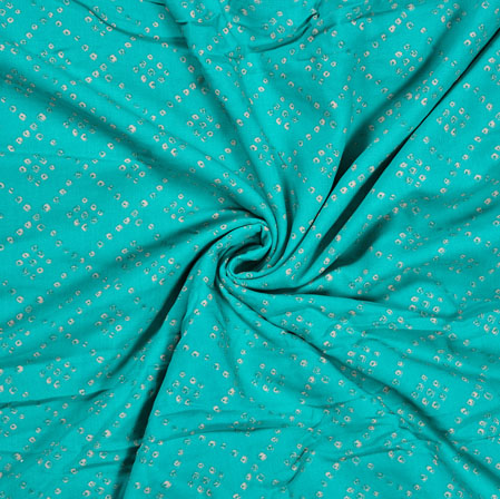 SkyBlue Orange Flower Cotton Print Fabric-28356