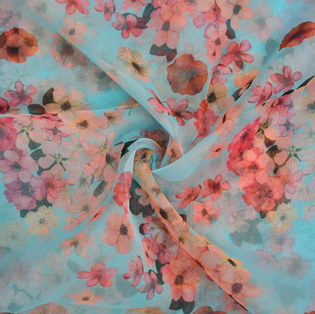SkyBlue Peach Floral Organza Silk Fabric-22325