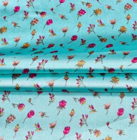 SkyBlue Pink Digital Flower Print Georgette Fabric-41206